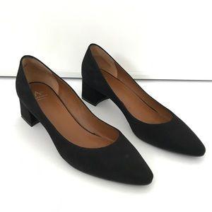Aquatalia Phoebe Suede Black Block Heels